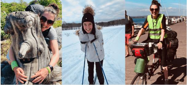 Bildecollage av Jeanette som viser henne på skitur, sykkeltur og skogstur.
