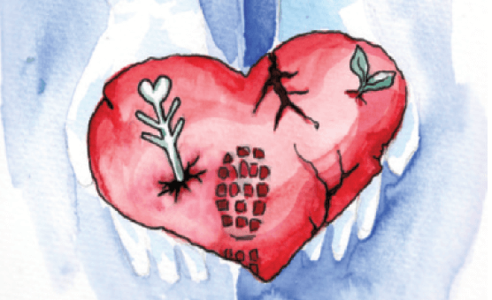 Illustrasjonsfoto som viser to hender som holder i et hjerte med fotavtrykk