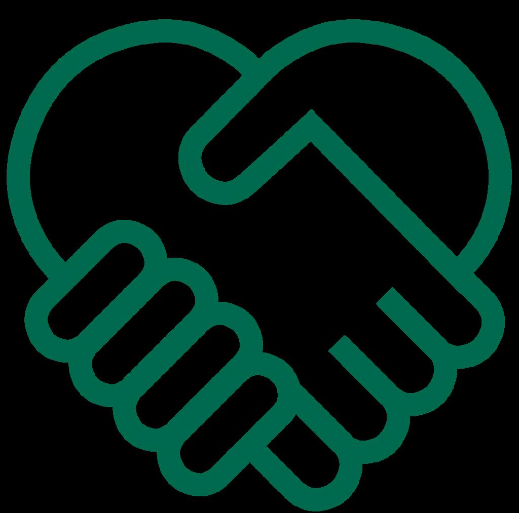 Grafikk som viser to grønne hender som holder hverandre og former et hjerte.