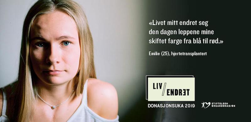 Kampanjeplakat for donasjonsuka 2019. På plakaten er det bilde av Emilie.