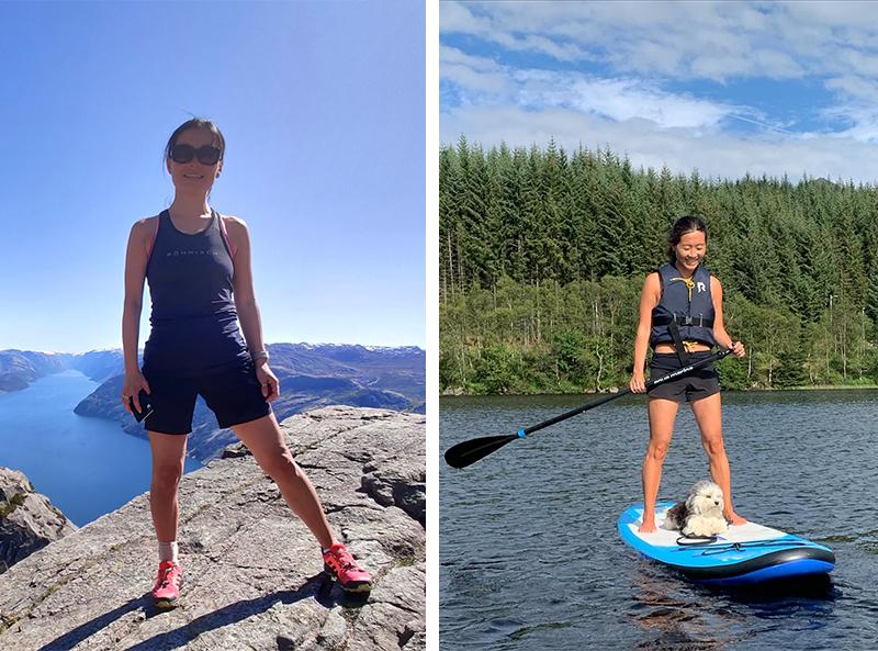 To bilder av Eileen. Til venstre står hun på toppen av et fjell med en fjord i bakgrunn. Til høyre står hun på et SUP-brett med sin lille hund.